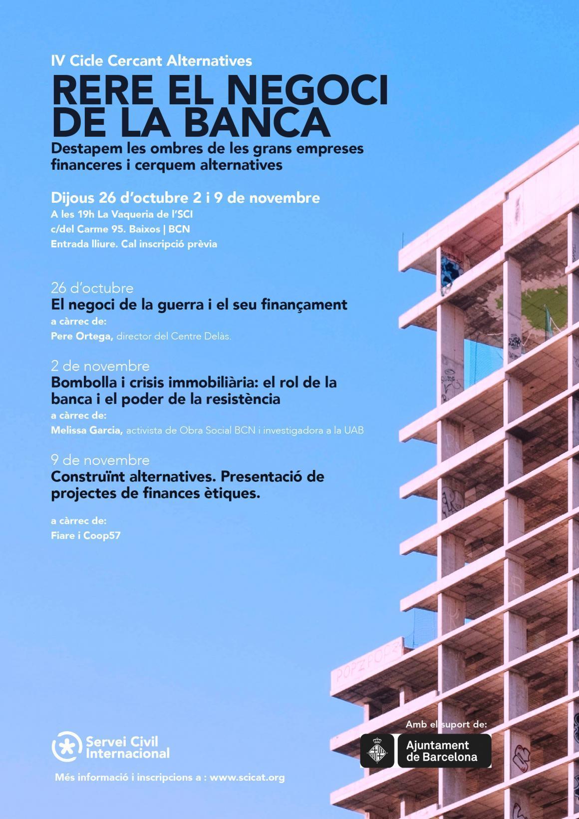 """""""Rere el negoci de la banca"""", quarta edició del Cicle Cercant Alternatives"""
