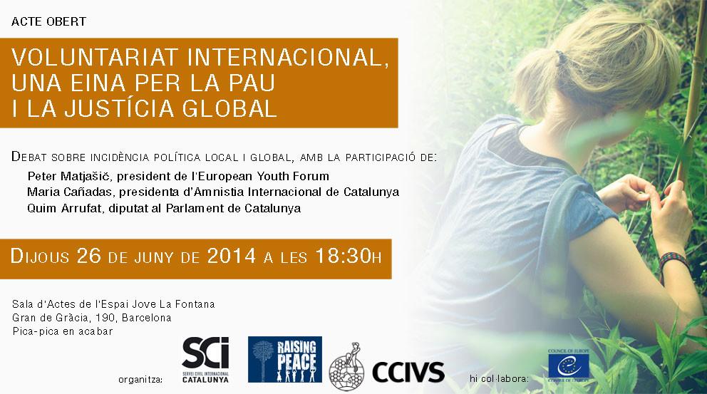 Demà vine a l'acte sobre el Voluntariat Internacional com a Eina per a la Pau!