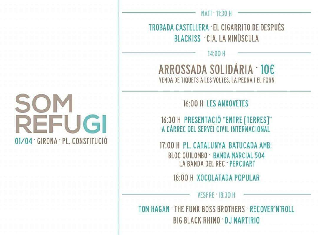 Dissabte 1 d'abril participem a la jornada Som Refugi, a Girona