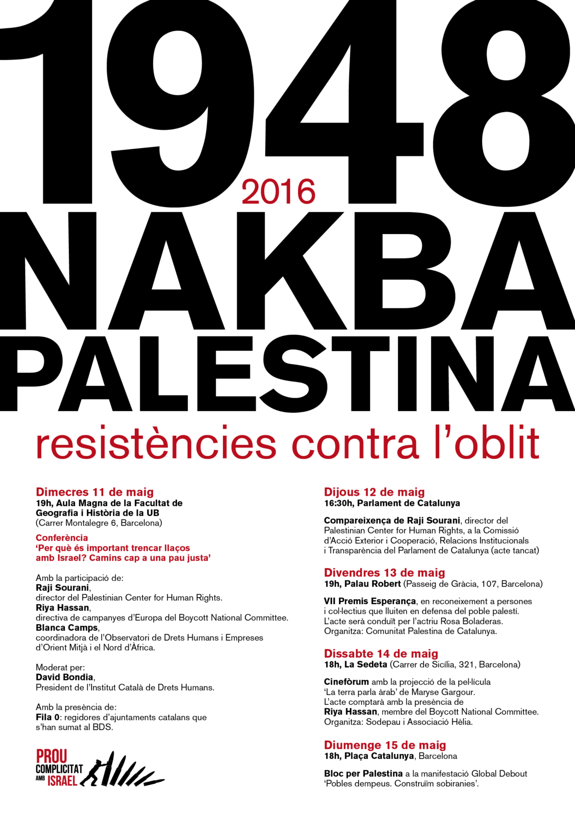 'Nakba Palestina, 1948 – 2016. Resistències contra l'oblit'
