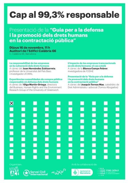 """Presentació de la """"Guia per a la defensa i la promoció dels drets humans en la contractació pública"""""""