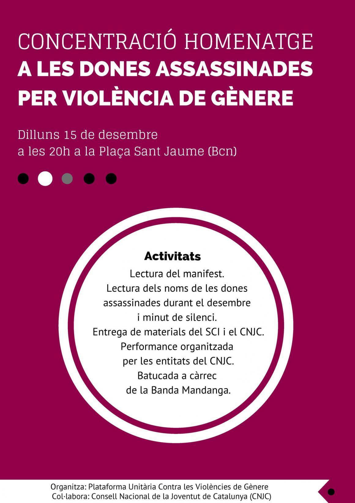 El 15 de Desembre us necessitem a tots i a totes per acabar amb la violència de gènere!