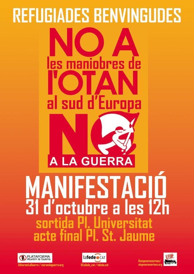 """Manifestació 31 octubre: """"Ajut a les persones refugiades. No a la guerra, no a l'OTAN"""""""