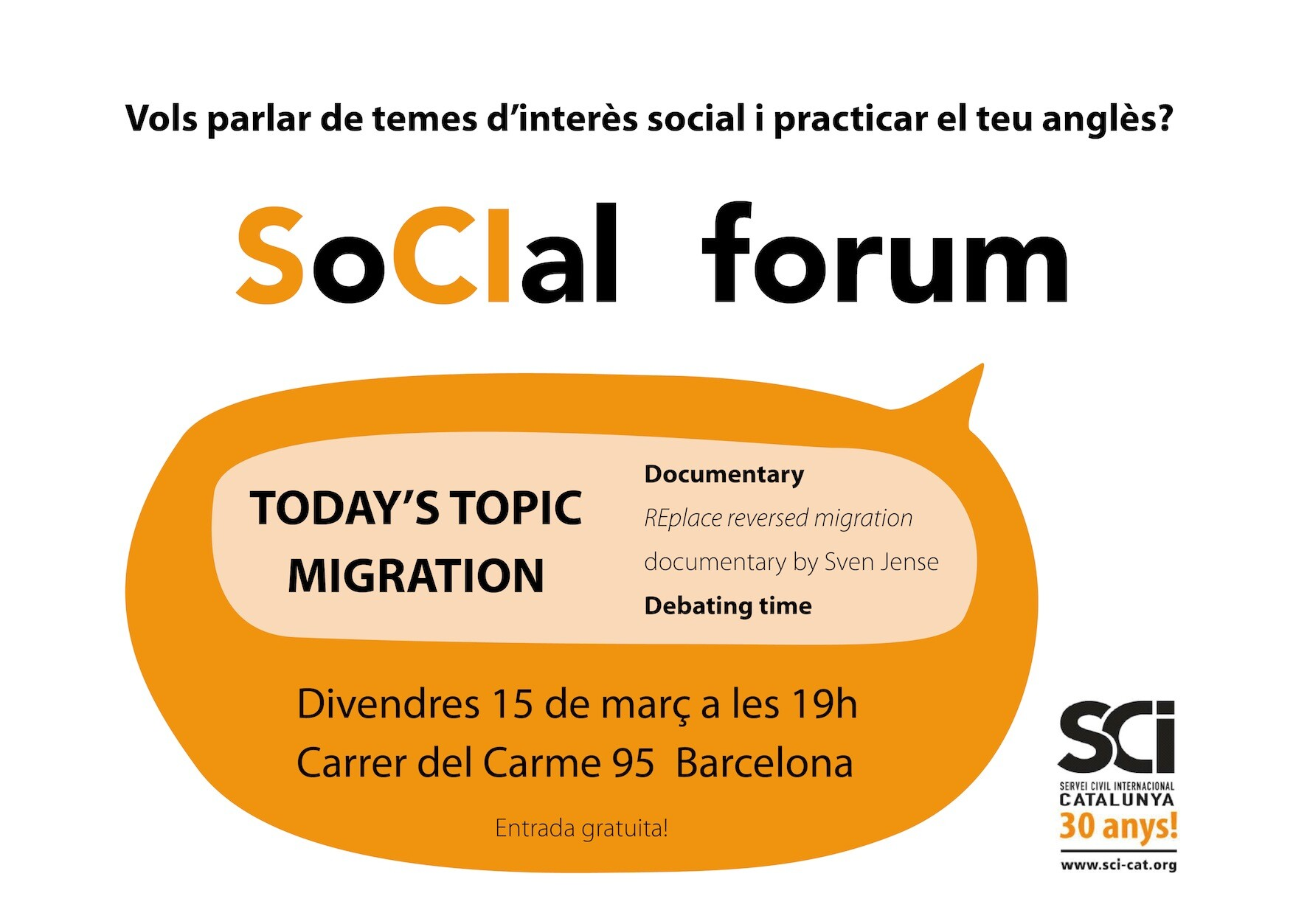 Tercera sessió del SoCIal Forum: migracions!