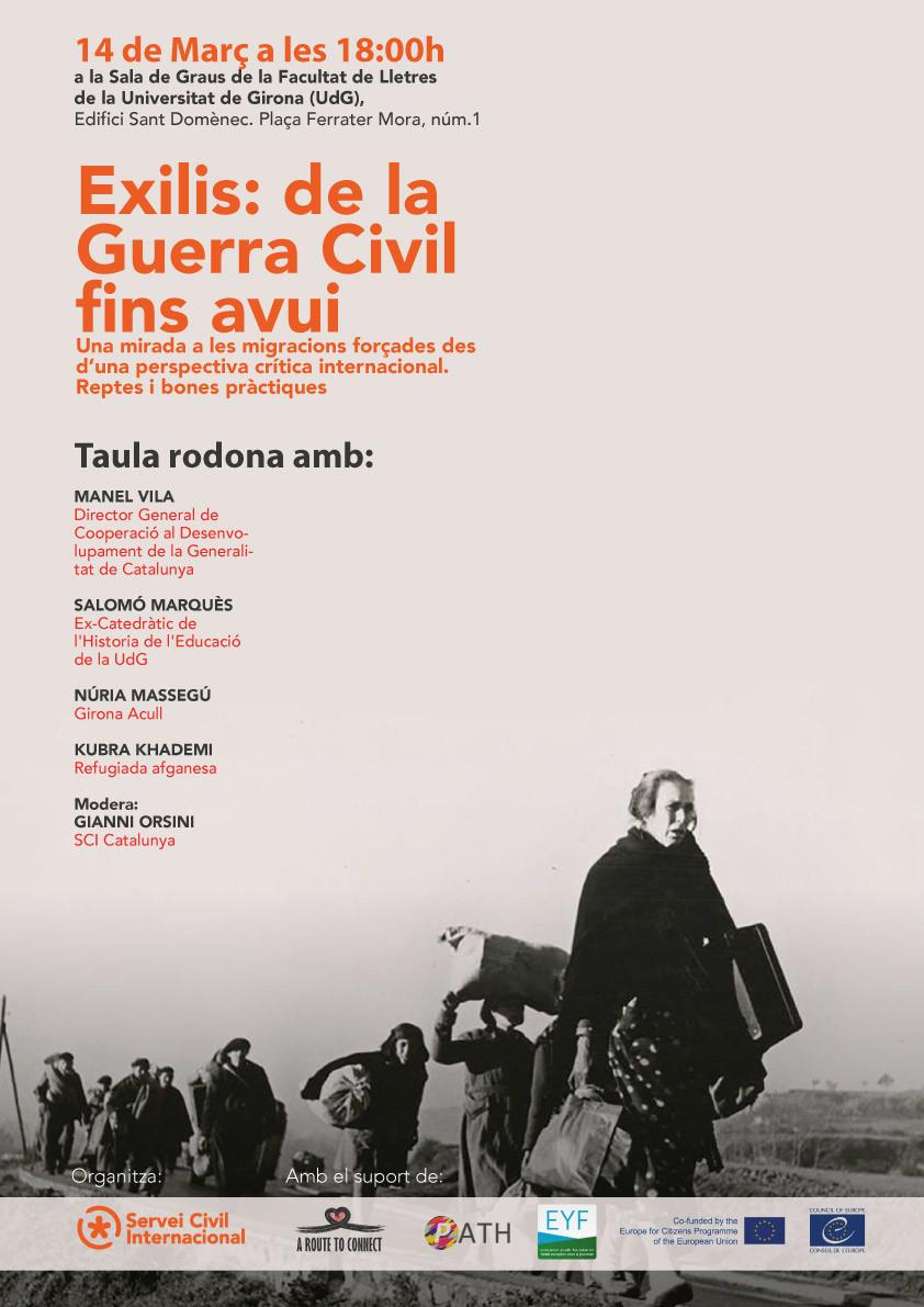 """Taula rodona """"EXILIS: de la Guerra Civil fins avui"""" el 14 de març a Girona"""